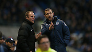 Birmingham City first team manager Gary Rowett argues with the fourth official during the Sky Bet Championship match between Brighton and Hove Albion and Birmingham City at the American Express Community Stadium, Brighton and Hove, England on 28 November 2015.
