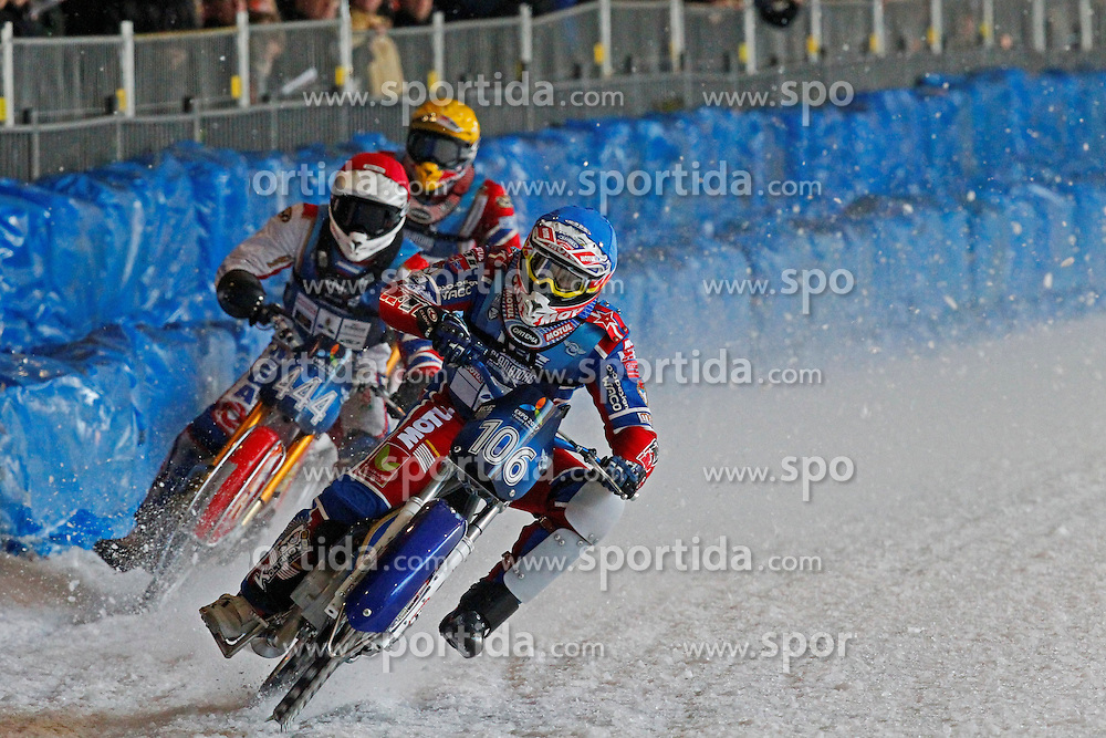 13.03.2016, Assen, BEL, FIM Eisspeedway Gladiators, Assen, im Bild Dimitry Koltakov (RUS), Igor Kononov (RUS) // during the Astana Expo FIM Ice Speedway Gladiators World Championship in Assen, Belgium on 2016/03/13. EXPA Pictures &copy; 2016, PhotoCredit: EXPA/ Eibner-Pressefoto/ Stiefel<br /> <br /> *****ATTENTION - OUT of GER*****