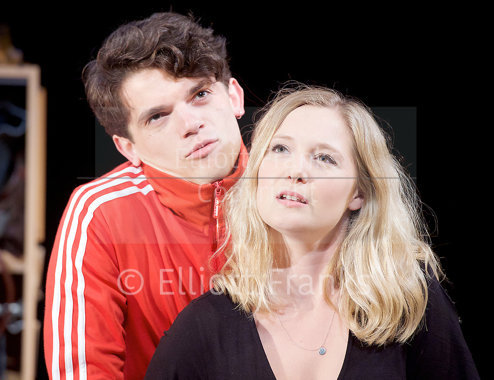 Touch <br /> by Vicky Jones <br /> at Soho Theatre, London, Great Britain <br /> press photocall 11th July 2017 <br /> <br /> <br /> <br /> <br /> Edward Bluemel as Paddy <br /> <br /> <br /> <br /> Amy Morgan as Dee <br /> <br /> <br /> <br /> <br /> Photograph by Elliott Franks <br /> Image licensed to Elliott Franks Photography Services