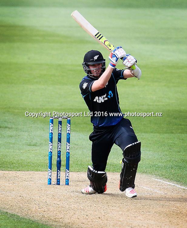 Adam Milne bats. New Zealand Black Caps v Australia, 2nd match of the Chappell-Hadlee ODI Cricket Series. Westpac Stadium, Wellington, New Zealand. Saturday 6th February 2016. Copyright Photo.: Grant Down / www.photosport.nz