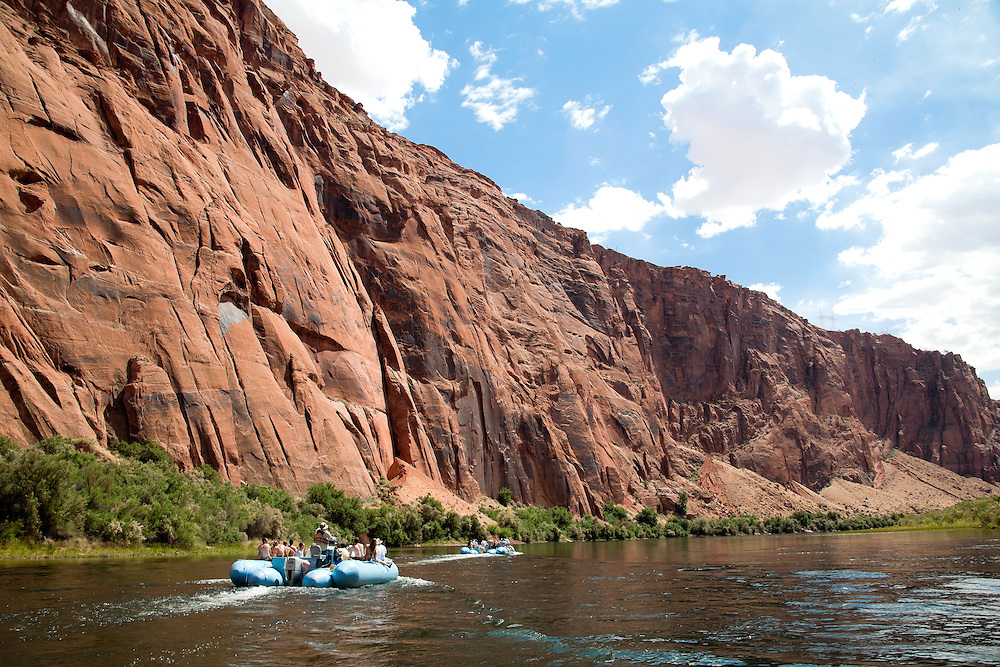 Glen Canyon, Arizona:  Scenery and float trip down 15 miles of the Colorado River running south through Glen Canyon, below the Glen Canyon Dam.  Trip guided by Wilderness River Adventures (managed by ARAMARK), the only operator (2006) permitted between the dam and Lees Ferry (take-out).  Additional views, both horizontal and vertical, with different horizon placements available.