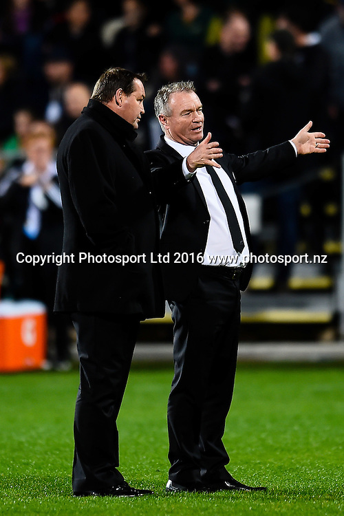 Grant Fox talking to Steve Hansen Coach of the All Blacks about fishing during the Investec Rugby Championship match, All Blacks v South Africa ,AMI Stadium, Christchurch, New Zealand, 17th September 2016. © Copyright Photo: John Davidson / www.photosport.nz