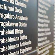 "The ""Wall of Names"" at the Kigali Memorial Centre in downtown Kigali, Rwanda. An ongoing project, the wall is a memorial to the estimates 258,000 genocide victims buried in mass graves nearby."