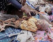 A family member uses an insect-killing spray on the body of a dead relative.<br /> <br /> Ma'nene is a tradition that takes place in August after harvest where the bodies of the dead loved ones are exhumed to be cleaned, groomed and dressed. For most, it's a bittersweet moment, a chance to reunite and physically see and touch and reconnect with loved ones who had passed on.