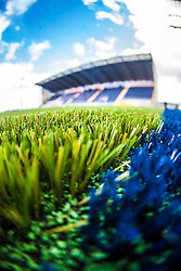 An image taken with a fish-eye lens of the the new pitch work on The Falkirk Stadium, for the Scottish Championship game v Morton. The woven GreenFields MX synthetic turf and the surface has been specifically designed for football with 50mm tufts compared with the longer 65mm which has been used for mixed football and rugby uses.  It is fully FFA two star compliant and conforms to rules laid out by the SPL and SFL.<br /> &copy;Michael Schofield.