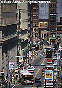 Pittsburgh, PA, Smithfield Street, Golden Triangle, Traffic, Pedestrians and Shopping, Hi-rises