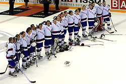 Team Norway celebrating at ice-hockey match Germany vs Norway (they have old replika jerseys from year 1966) at Preliminary Round (group C) of IIHF WC 2008 in Halifax, on May 07, 2008 in Metro Center, Halifax,Nova Scotia, Canada. Norway won 3:2. (Photo by Vid Ponikvar / Sportal Images)