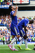 Diego Costa of Chelsea celebrates scoring his hatrick against Swansea City during the Barclays Premier League match at Stamford Bridge, London<br /> Picture by David Horn/Focus Images Ltd +44 7545 970036<br /> 13/09/2014