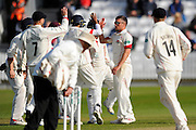 Lancashire's Simon Kerrigan celebrates taking the wicket of Somerset's Jack Leach during the Specsavers County Champ Div 1 match between Somerset County Cricket Club and Lancashire County Cricket Club at the County Ground, Taunton, United Kingdom on 3 May 2016. Photo by Graham Hunt.