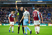 Yellow card for West Ham United midfielder Robert Snodgrass (11) during the Premier League match between Burnley and West Ham United at Turf Moor, Burnley, England on 30 December 2018.