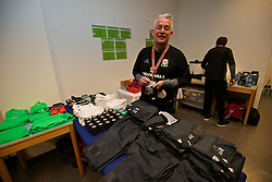 VIENNA, AUSTRIA - Thursday, October 6, 2016: The Wales kit man Mike Murphy prepares the team's kit in the away dressing room ahead of the 2018 FIFA World Cup Qualifying Group D match against Austria at the Ernst-Happel-Stadion. (Pic by David Rawcliffe/Propaganda)