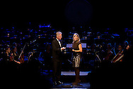 12-12-2014 The Hague Queen Maxima with Carel van Eykelenburg attend the gala evening of the project Eeuwige Jeugd ( Eternal youth) in The Hague.<br /> With this project the BNG bank and culture foundation provides young artists the opportunity to create new productions.  COPYRIGHT ROBIN UTRECHT