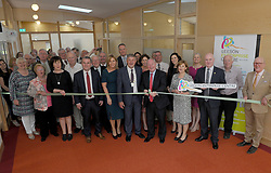 Minister for Rural and Community Development Michael Ring TD cutting the tape at the opening of the Leeson Enterprise centre Westport on friday last.<br /> Pic Conor McKeown