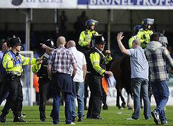 Police officers try to contain fans - Photo mandatory by-line: Joe Meredith/JMP - Mobile: 07966 386802 03/05/2014 - SPORT - FOOTBALL - Bristol - Memorial Stadium - Bristol Rovers v Mansfield - Sky Bet League Two