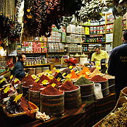 A shop selling spices and other ingredients next to the Spice Bazaar (also known as the Egyption Bazaar) in Istanbul, Turkey.
