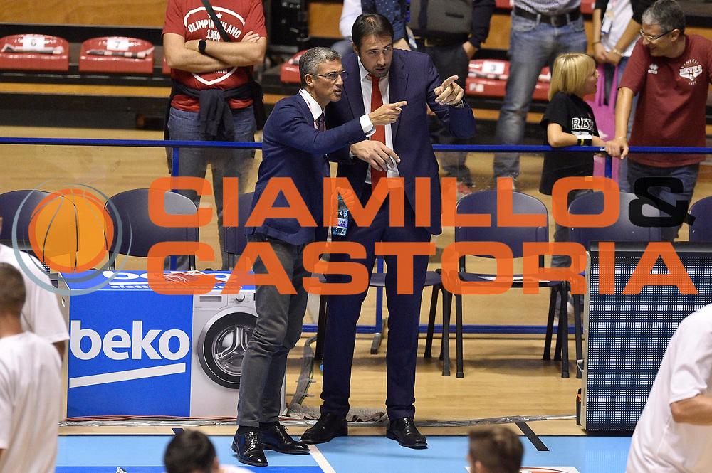 DESCRIZIONE : Supercoppa 2015 Semifinale Banco di Sardegna Sassari - Grissin Bon Reggio Emilia<br /> GIOCATORE : Alessandro Frosini Fernando Marino<br /> CATEGORIA : vip pregame before<br /> SQUADRA : Grissin Bon Reggio Emilia<br /> EVENTO : Supercoppa 2015<br /> GARA : Banco di Sardegna Sassari - Grissin Bon Reggio Emilia<br /> DATA : 26/09/2015<br /> SPORT : Pallacanestro <br /> AUTORE : Agenzia Ciamillo-Castoria/GiulioCiamillo