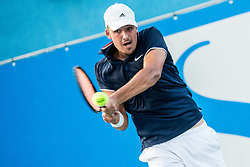 Aljaz Jakob Kaplja (SLO) in action during Day 5 at ATP Challenger Zavarovalnica Sava Slovenia Open 2018, on August 7, 2018 in Sports centre, Portoroz/Portorose, Slovenia. Photo by Vid Ponikvar / Sportida