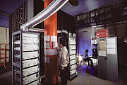 Proton decay experiment to determine the ultimate stability of matter. View of the NUSEX (Nucleon Stability Experiment) proton decay detector located in a garage area off the Mont Blanc tunnel under some 5000 meters of rock which shields it from most cosmic radiation. (1985)