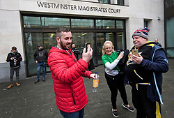 © Licensed to London News Pictures. 19/03/2019. London, UK. Yellow Vest protestor JAMES GODDARD (left) arrives at Westminster Magistrates Court in London where he is charged with harassing MP Anna Soubry and two public order offences against a police officer.  Photo credit: Ben Cawthra/LNP