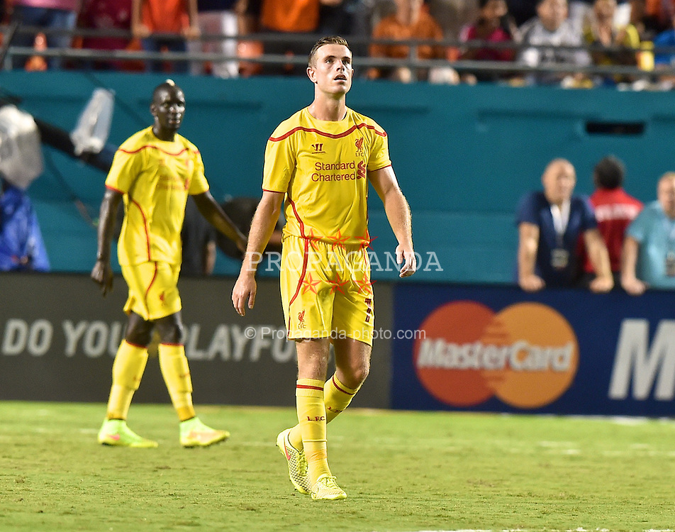 MIAMI, USA - Monday, August 4, 2014: Liverpool's Jordan Henderson looks dejected after Manchester United score the second goal during the International Champions Cup Final match at the SunLife Stadium on day fifteen of the club's USA Tour. (Pic by David Rawcliffe/Propaganda)