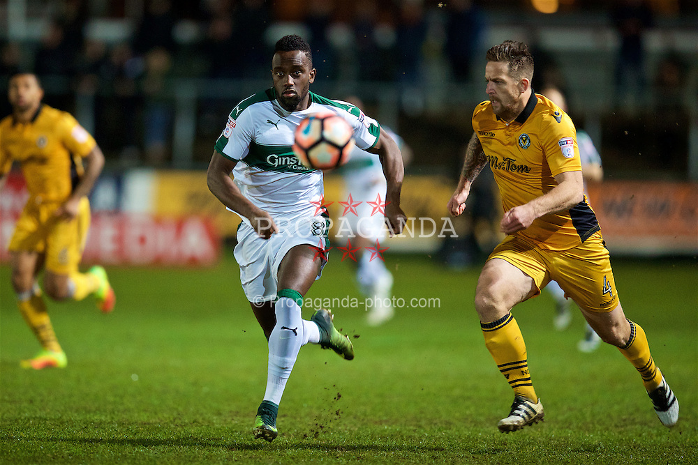 NEWPORT, WALES - Wednesday, December 21, 2016: Plymouth Argyle's Jordan Slew in action against Newport County during the FA Cup 2nd Round Replay match at Rodney Parade. (Pic by David Rawcliffe/Propaganda)