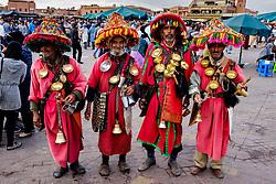 Traditional water sellers in the Jemaa el Fna, Marrakech, Morocco, North Africa<br /> <br /> (c) Andrew Wilson   Edinburgh Elite media