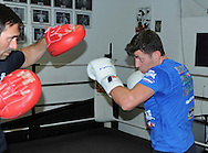 Picture by Alan Stanford/Focus Images Ltd +44 7915 056117<br /> 30/09/2013<br /> IBF World Middleweight Champion Darren Barker with trainer Tony Sims during a media workout at Gator ABC, Hainault, Essex.