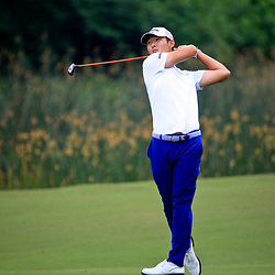 Apr 28, 2016; Avondale, LA, USA; Danny Lee on the 18th hole during the first round of the 2016 Zurich Classic of New Orleans at TPC Louisiana. Mandatory Credit: Derick E. Hingle-USA TODAY Sports
