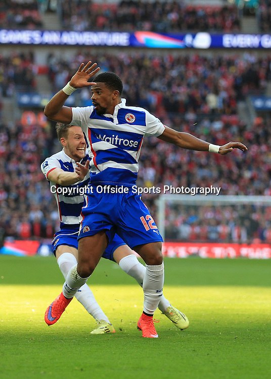 18th April 2015 - FA Cup - Semi-Final - Reading v Arsenal - Garath McCleary of Reading looks in shock as Chris Gunter of Reading comes to congratulate him after he scored Reading's 1st goal - Photo: Simon Stacpoole / Offside.