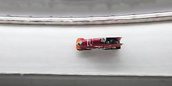 12.02.2016, Olympiaeisbahn Igls, Innsbruck, AUT, FIBT WM, Bob und Skeleton, Zweierbob Damen, 2. Lauf, im Bild An Vannieuwenhuyse, Loes Hubrecht (BEL) // An Vannieuwenhuyse and Loes Hubrecht of Belgium competes during two woman Bobsleigh 2nd run of FIBT Bobsleigh and Skeleton World Championships at the Olympiaeisbahn Igls in Innsbruck, Austria on 2016/02/12. EXPA Pictures © 2016, PhotoCredit: EXPA/ Johann Groder