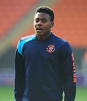 Blackpool's Bright Osayi-Samuel during the pre-match warm-up <br /> <br /> Photographer Kevin Barnes/CameraSport<br /> <br /> Football - The Football League Sky Bet League One - Blackpool v Swindon Town - Saturday 3rd October 2015 - Bloomfield Road - Blackpool<br /> <br /> © CameraSport - 43 Linden Ave. Countesthorpe. Leicester. England. LE8 5PG - Tel: +44 (0) 116 277 4147 - admin@camerasport.com - www.camerasport.com