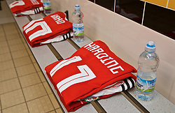 NEWPORT, WALES - Tuesday, September 3, 2019: The Wales shirt of Natasha Harding in the dressing room before the UEFA Women Euro 2021 Qualifying Group C match between Wales and Northern Ireland at Rodney Parade. (Pic by David Rawcliffe/Propaganda)