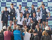 Mortlake/Chiswick, GREATER LONDON. United Kingdom. University Men's Boat Race OUBC on the Victory Podium <br /> Championship Course,  Putney to Mortlake on the River Thames. <br /> <br /> Sunday  02/04/2017<br /> <br /> [Mandatory Credit; Peter SPURRIER/Intersport Images]