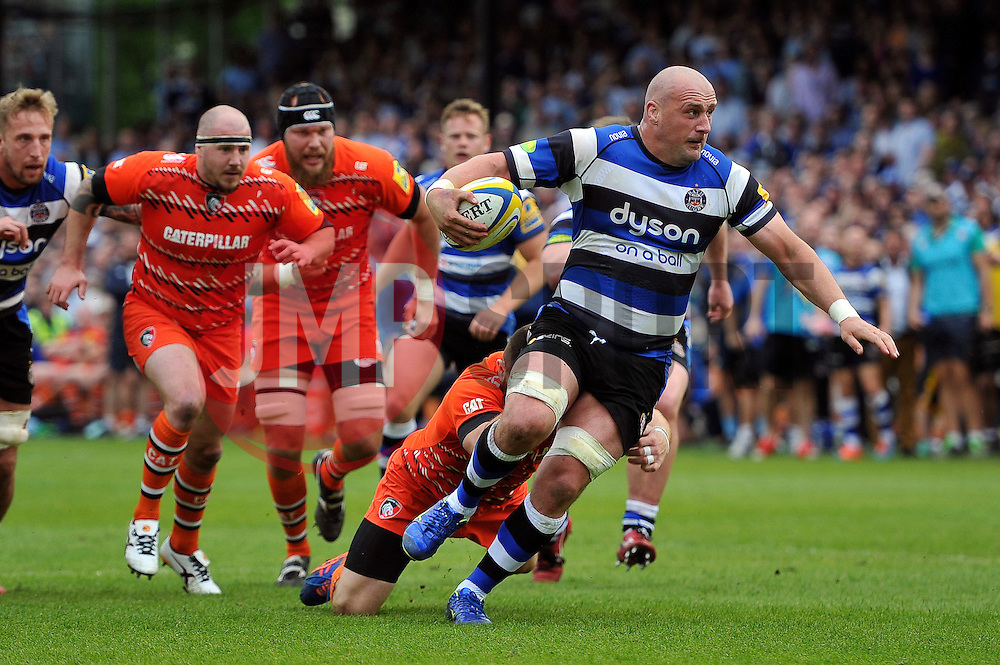 Carl Fearns of Bath Rugby takes on the Leicester Tigers defence - Photo mandatory by-line: Patrick Khachfe/JMP - Mobile: 07966 386802 23/05/2015 - SPORT - RUGBY UNION - Bath - The Recreation Ground - Bath Rugby v Leicester Tigers - Aviva Premiership Semi-Final