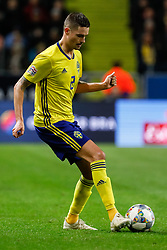 November 20, 2018 - Stockholm, Sweden - Mikael Lustig of Sweden in action during the UEFA Nations League B Group 2 match between Sweden and Russia on November 20, 2018 at Friends Arena in Stockholm, Sweden. (Credit Image: © Mike Kireev/NurPhoto via ZUMA Press)