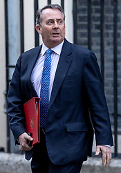 © Licensed to London News Pictures. 26/02/2019. London, UK. Secretary of State for International Trade Liam Fox leaves 10 Downing Street after the Cabinet meeting. Photo credit: Rob Pinney/LNP