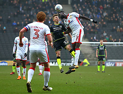 Luke Russe of Bristol Rovers challenges Ousseynou Cisse of Milton Keynes Dons to a header - Mandatory by-line: Robbie Stephenson/JMP - 03/03/2018 - FOOTBALL - Stadium MK - Milton Keynes, England - Milton Keynes Dons v Bristol Rovers - Sky Bet League One