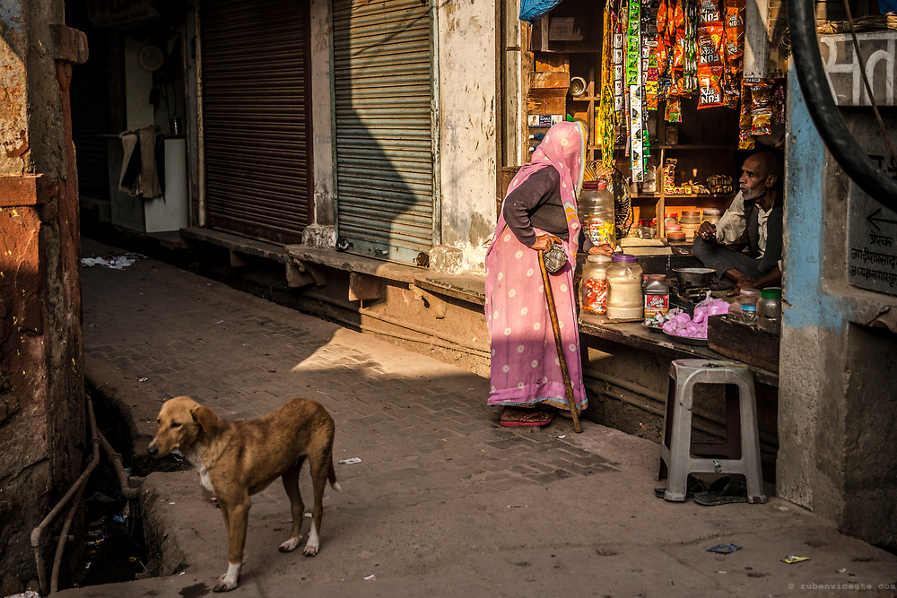 Women shopping in the streets of Vrindavan. India