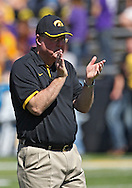 September 15 2012: Iowa Hawkeyes offensive coordinator Greg Davis watches the team warm up before the start of the NCAA football game between the Northern Iowa Panthers and the Iowa Hawkeyes at Kinnick Stadium in Iowa City, Iowa on Saturday September 15, 2012. Iowa defeated Northern Iowa 27-16.