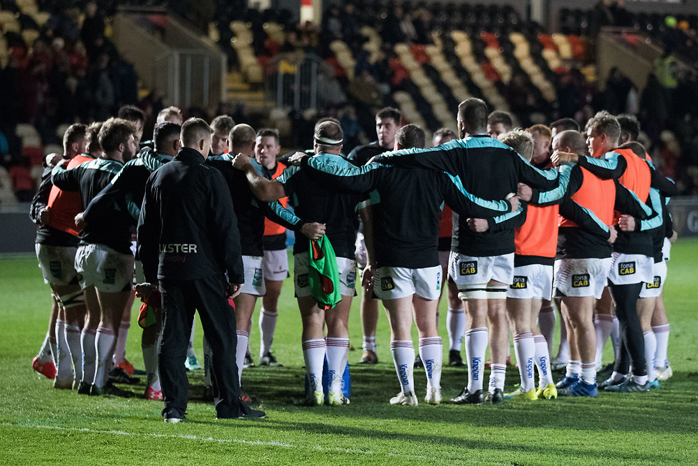 Ulster Rugby team huddle during the pre match warm up<br /> <br /> Photographer Simon King/Replay Images<br /> <br /> Guinness Pro14 Round 10 - Dragons v Ulster - Friday 1st December 2017 - Rodney Parade - Newport<br /> <br /> World Copyright © 2017 Replay Images. All rights reserved. info@replayimages.co.uk - www.replayimages.co.uk