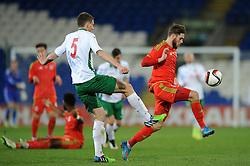 Wes Burns of Wales u21s (Bristol City) is closed down by Plamen Galabov of Bulgaria u21s - Photo mandatory by-line: Dougie Allward/JMP - Mobile: 07966 386802 - 31/03/2015 - SPORT - Football - Cardiff - Cardiff City Stadium - Wales v Bulgaria - U21s International Friendly