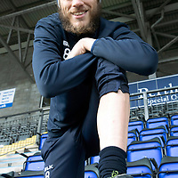 St Johnstone's Murray Davidson pictured ahead of tomorrow night's game against his old club Livingston after having his legs waxed to help raise the £40,000 required to send 11 year old Perth girl Lily Douglas to Immucura Med in Malaga for a new alternative treatment to battle her stage-four Ewing's Sarcoma, a rare strain of bone marrow cancer.<br />Picture by Graeme Hart.<br />Copyright Perthshire Picture Agency<br />Tel: 01738 623350  Mobile: 07990 594431