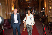 Dominic Cooke with Sophie Okonedo , Press night performance of the Pride at Trafalgar Studios and afterwards at the Gladstone Library, National Liberal Club. Whitehall place. London. 13 August 2013.