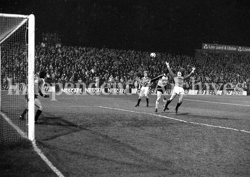 Manchester United Vs St Patricks Athletic in Dailymount Park, Dublin, 15/03/1983 (Part of the Independent Newspapers Ireland/NLI Collection).