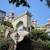 Pena National Palace Romanticist Architecture in Sintra, Portugal <br />