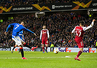 Football - 2019 / 2020 UEFA Europa League - Round of Thirty-Two, First Leg: Rangers vs. Sporting Braga<br /> <br /> Ianis Hagi of Rangers scores to pull a goal back and make it 1-2 , at Ibrox Stadium.<br /> <br /> COLORSPORT/BRUCE WHITE