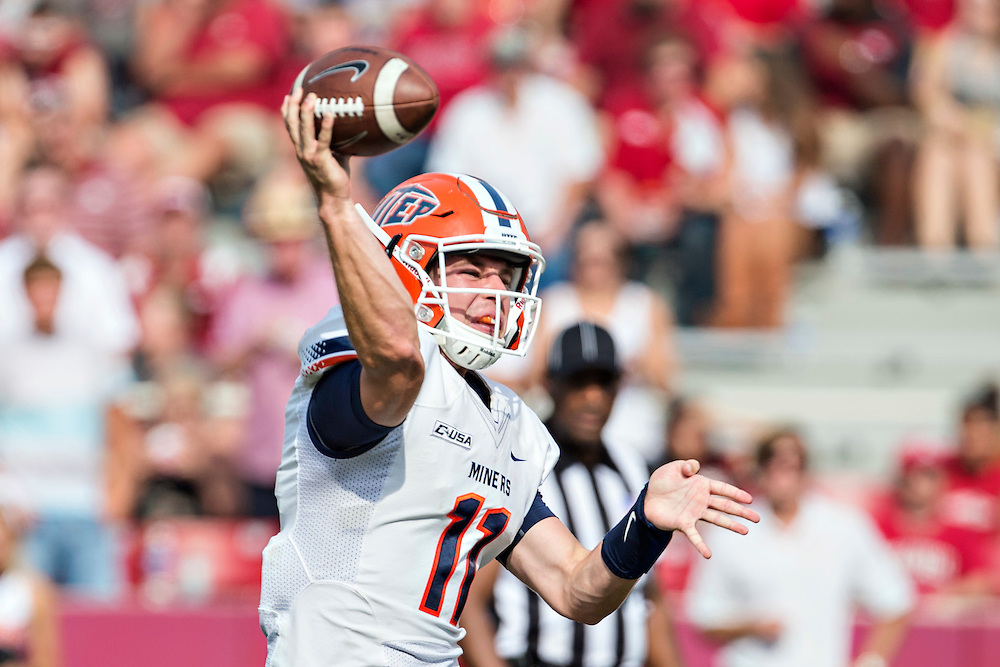FAYETTEVILLE, AR - SEPTEMBER 5:  Mack Leftwich #11 of the UTEP Miners throws a pass against the Arkansas Razorbacks at Razorback Stadium on September 5, 2015 in Fayetteville, Arkansas.  The Razorbacks defeated the Miners 48-13.  (Photo by Wesley Hitt/Getty Images) *** Local Caption *** Mack Leftwich