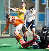 ROTTERDAM -    Alexander Schop  (Neth)  with goalie Toby Bruce  (Eng).     Practice Match  Hockey : Netherlands Boys U16  v England U16 . COPYRIGHT KOEN SUYK