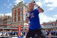 Kevin Mitchell shadow boxing during a public workout in Covent Garden, London<br /> Picture by Alan Stanford/Focus Images Ltd +44 7915 056117<br /> 26/05/2015