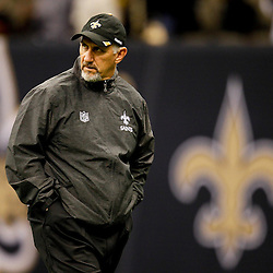 November 6, 2011; New Orleans, LA, USA; New Orleans Saints special teams coach Greg McMahon prior to kickoff of a game against the Tampa Bay Buccaneers at the Mercedes-Benz Superdome. Mandatory Credit: Derick E. Hingle-US PRESSWIRE